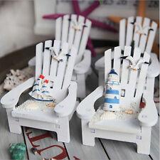 Mini Fairy Chic Wooden Chair Dollhouse Garden Home Sea Beach Bar Ornament lj