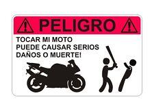 Hacer No Tocar Motocicleta Advertencia ES Pegatina Gráfica Vinilo Etiqueta