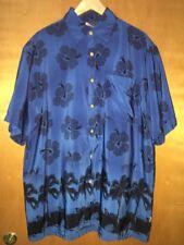Men's SIDEOUT Blue Floral Shirt Large Button Down Short Sleeve Hawaiian