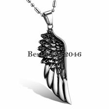 Silver Tone Stainless Steel Angel Wing Mens Womens Pendant Necklace w Chain