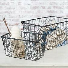 "Wire Basket Home Office Storage Rectangle 18"" Vintage Desk Industrial Style New"