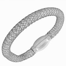 Fine Stainless Steel Silver White Gold-Tone Crystals CZ Mesh Womens Bracelet