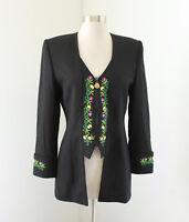 Vtg Criscione Cache Black Floral Embroidered Tuxedo Evening Jacket Blazer Sz XS