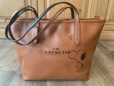 Coach Snoopy City Zip Tote x Peanuts Saddle Leather Bag Handbag -NEW!! with tag