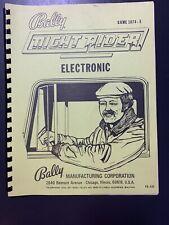 Bally Pinball Night Rider Electronic Installation Manual Instructions