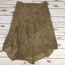 Josephine Chaus Layered Ruffled Skirt - 16 - Beige & Brown Geometric Print