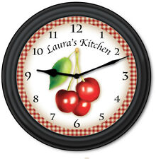 Cherry Kitchen PERSONALIZED Wall Clock -  Baker Country Primitive Decor - GIFT