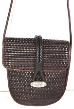 Brighton One World Small Brown Weave Pattern Leather Cross Body Shoulder Bag