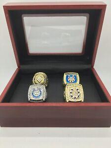 4 Pcs Indianapolis Colts Super Bowl Championship Ring Set with Wooden Display Bo