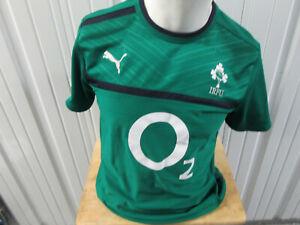 VINTAGE PUMA IRFU IRELAND RUGBY FOOTBALL UNION O2 LARGE SEWN GREEN JERSEY
