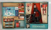 Vintage Porter Microcraft Microscope Lab Kit Set 216 Set & Metal Case AS IS