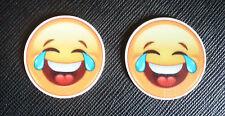 2 x Emoji Laughing Crying Planar Flatback Resin Flat Back Resins