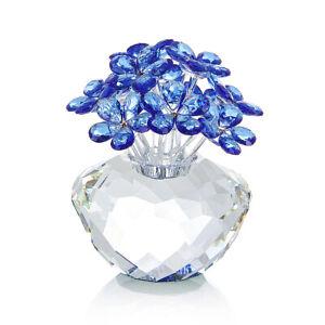 NOYISTAR K9 Crystal Blue Flower Figurine Glass Bouquet Ornament Paperweight