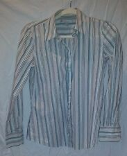 Women's Old Navy Stripped Button Down Shirt Size Med Brown/Beige/Sky Blue/White