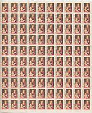 sheet of 100 CHRISTMAS 1966 / MEMLING / MADONNA stamps - Scott #1321 MNH 5c USA
