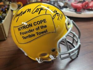 MYRON COPE autographed/signed CUSTOM Steelers MINI HELMET