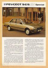 PEUGEOT 505 SX BERLINA LIMITED EDITION 1985 mercato del Regno Unito foglio BROCHURE DI VENDITA