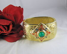 Huge Gold tone Colorful Accents Clamper Bracelet   CAT RESCUE