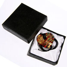Handmade Glass Heart PENDANT NECKLACE Costume Jewellery Gold Red with Gift Box