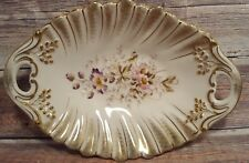 Vintage Germany KPM Serving Dish Floral Gold Trim