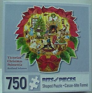 """Bits & Pieces Jigsaw Shaped Puzzle 750 piece """"Victorian Christmas Poinsettia"""""""