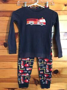 Gymboree Fire Truck Rescue Pajama Set Gymmies Boys 2 Piece Top Pants Size 10