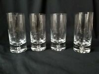 4 Block Crystal Highball Glasses Karlstadt Pattern Air Bubble Base Tumblers 6+""
