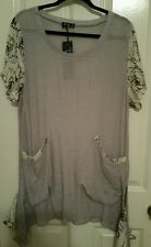 Women's tunic Lily by Firmiana lightweight Gray with B&W flower sleeves, NWT