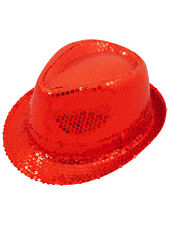 New Unisex Fancy Dress Gangster Hat Fedora Trilby Red Sequin Cap Dance Party