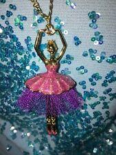 Betsey Johnson Terrific Tutus Ballerina Pendant Bow Charm Long Necklace