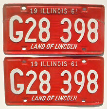 Illinois 1961 Pair Old License Plate Garage Vtg Car Tag Set Classic Man Cave