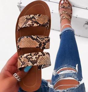Lady Summer Snakeskin Flats Sandals Slippers Retro Slip On Flip Flop Beach Shoes
