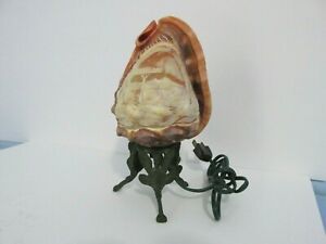 Vintage Carved Conch Shell Lamp Mt Vesuvius Scene