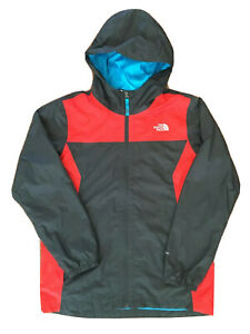 The North Face Size Large 14/16 Gray & Red Full Zip Hooded DryVent Rain Jacket