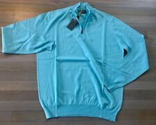 700$ Canali Turquoise Cashmere/Cotton Sweater Size XXL, EU 56, Made in Italy