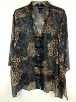 Maggie Barnes Women's Top ¾ Sleeve Sheer Animal Print Multi-color Sz 1X (18-20)