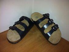 Grey Metallic Leather Comfort Sandals UK 4 EURO 37