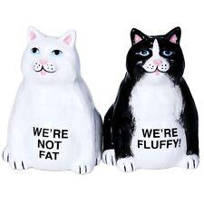 Not Fat Fluffy Black White Cat Magnetic Ceramic Salt & Pepper Shakers Figurine