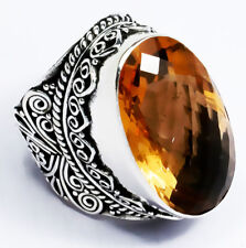 79 Cts. Handcrafted Golden Quartz Vintage Style Silver Plated Ring Size =Us-5.50