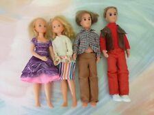Mattel vtg 4 sunshine family dolls Steve Dad Stephie Mom 1973 Redressed (J8 32)