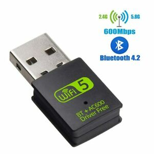 USB WiFi Bluetooth Adapter 600Mbps Dual Band 2.4/5Ghz Wireless Receiver Dongle