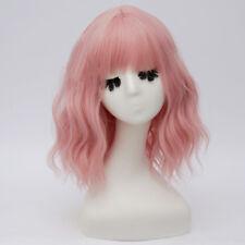 Lolita Light Pink Curly 35CM Medium Women Bangs Hair Cosplay Wig Halloween