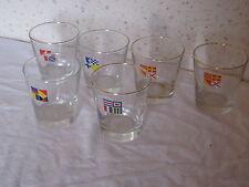 Lot de 6 verres anciens avec drapeaux