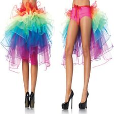 Women's Rainbow Half Bustle Tulle Tutu Skirt Burlesque Petticoat Party Clubwear