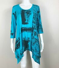 New ListingArt Of Cloth Tunic Turquoise Blue Black Graphic Print Stretch Jersey Large Ntsf