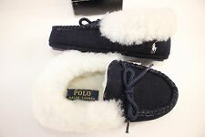 NIB RALPH LAUREN Size 6 Toddler Boy's Navy 100% Shearling Cuff ALLISTER Slipper