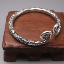 New Pure 999 Fine Silver Bracelet 6mm Monkey King Head Band Style Bangle