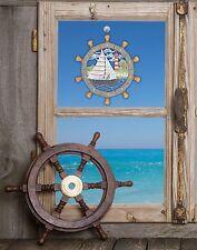 Fensterbild Steuerrad echte Plauener spitze Inkl. Saughaken