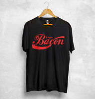 Enjoy Bacon T Shirt Coca Cola Logo Funny Party Diet Gym Barbecue Sasuage Pepsi