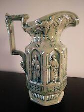 Vintage1972 Pedestal Pitcher Vase with Raised Figural Saints Green/Pearl/White